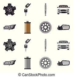 set, stock., auto, teken., vector, ontwerp, auto onderdeel,...