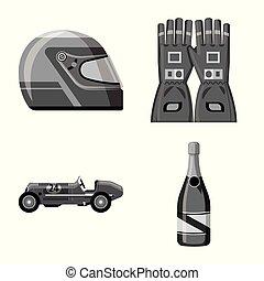 set, stock., auto, teken., voorwerp, vrijstaand, vector, hardloop, verzameling, pictogram