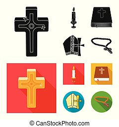 set, stock., items, moslim, vector, ontwerp, kaarsje, icon., pictogram