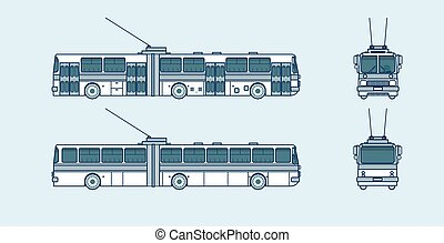 Set stock vector illustration isolated trolleybus front, side, back view line style blue background Element for site, info graphic, video, animation, website, e-mail, newsletter, reports, comic, icon