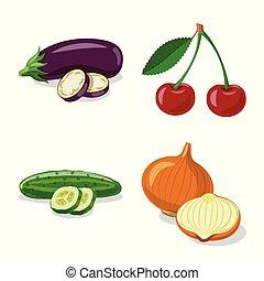 set, stock., vegetariano, oggetto, isolato, frutta, simbolo., vettore, verdura, icona
