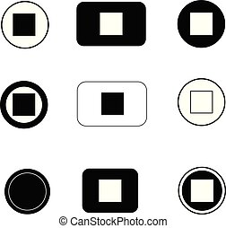 set stop button icon on white background. flat style. stop button icon for your web site design, logo, app, UI. stop symbol. stop button sign.