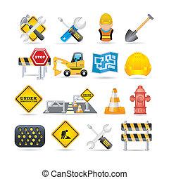 set, straat, pictogram