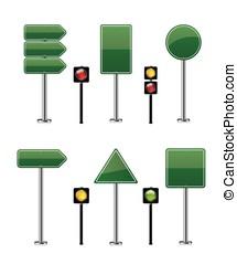 set, strada, illustrazione, segno