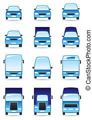 set, strada, trasporto, icone