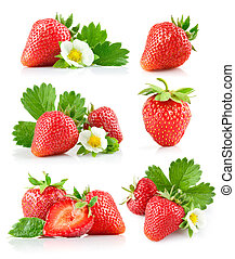 set strawberry berry with green leaf and flower - strawberry...