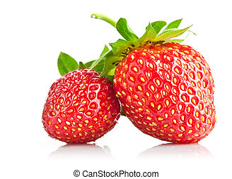 set strawberry berry with green leaf