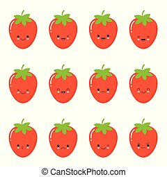 Set strawberry emotions face. Set strawberry. Strawberries with Kawaii face on a white background.