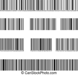 set, streepjescode, lijnen, verzameling, isolated., getallen, vector, black , tekens