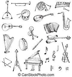set, strumenti, -, mano, vettore, musica, disegnato
