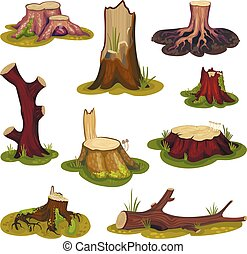 Set of stumps and driftwood on a green lawn. Vector illustration on white background.