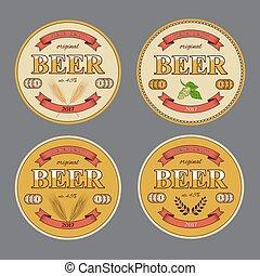 set, stuoia, mats., birra, vettore, rotondo, templates.