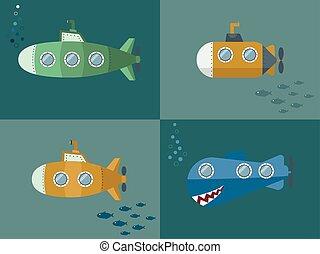 Set Submarine Cartoon Style, Flat Design