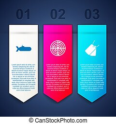 Set Submarine, Radar with targets and Military dog tags. Business infographic template. Vector