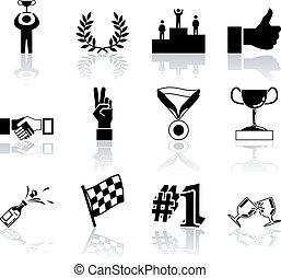 set, succes, reeks, communie, ontwerp, overwinning, pictogram