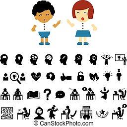 set, succesvolle , studeren, spotprent, student, symbool