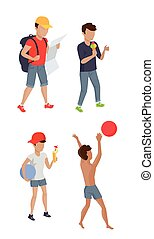 Set Summer Boy Characters Vector Illustration