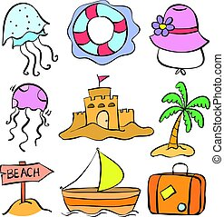 Set summer holiday of doodle style