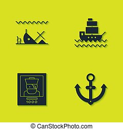 Set Sunken ship, Anchor, Wanted poster pirate and Ship icon. Vector