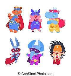 set, superhero, animals., vettore, caratteri, bambino, superheroes