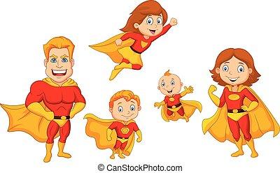 set, superhero, spotprent, verzameling