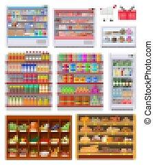 set, supermercato, mensole