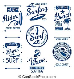 Set surfing labels and emblems on white background