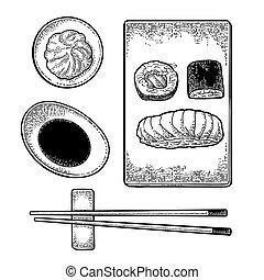 Set Sushi. Chopsticks, wasabi, soy sauce, nigiri, rolls,...