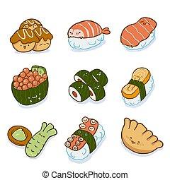 set., sushi