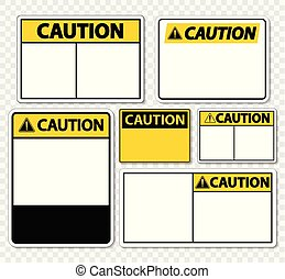 set symbol caution sign label on transparent background