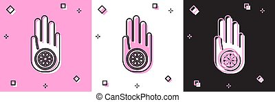 Set Symbol of Jainism or Jain Dharma icon isolated on pink and white, black background. Religious sign. Symbol of Ahimsa. Vector Illustration