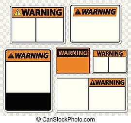 set symbol warning sign label on transparent background