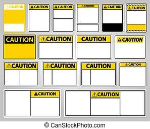 Set symbol yellow caution sign icon on white background