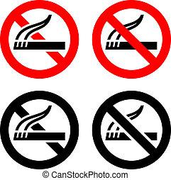 set, symbolen, -, geen het roken