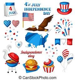 set., symboler, fjärde, juli, dag, oberoende