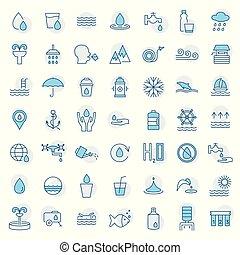 set, symbool., water, vector, dune lijn, style., pictogram