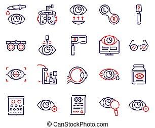 set., szemészet, ikonok, vektor, lineáris, szín