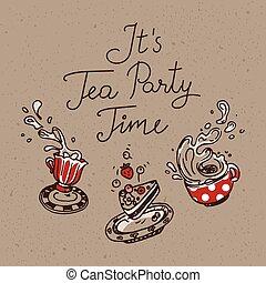 set, tè, tre, esso, time., oggetti, festa, disegnato, mano