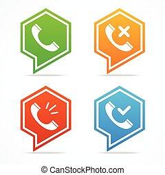 set., téléphone, vecteur, icône