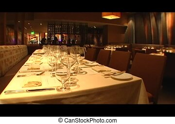 Set Table in a Restaurant - A restaurant in a casino is set...