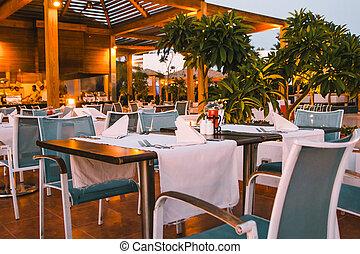 tables on restaurant terrace