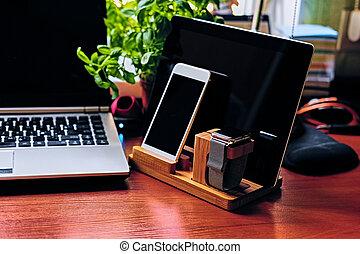 set, tablet, horloge, houten, communicatie, pc, stander, smart