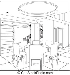 set, tafel, restaurant