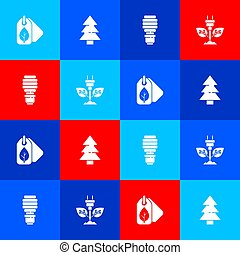 Set Tag with leaf, Christmas tree, LED light bulb and Electric saving plug in icon. Vector