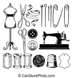 Set tailor icons isolated on white, design element