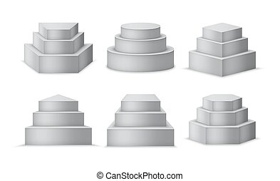 set., tal, cilindro, cubo, 3d, diferente, pedestales, formas...
