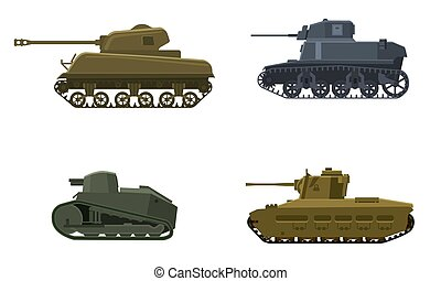 Set Tank American German Britain French World War 2. Military army machine war, weapon, battle symbol silhouette side view icon. Vector illustration isolated