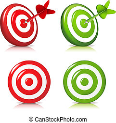 Set Target - 4 Darts Hitting A Target, Isolated On White...