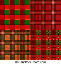Set tartan, plaid patterns