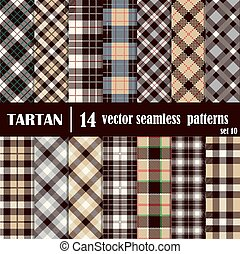 Set Tartan Seamless Pattern in gray and yellow  colors